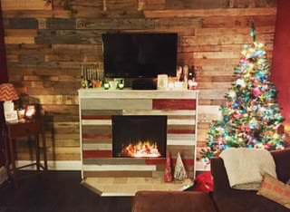 Pallet Wood Walls can create a gorgeous warmth for holiday decor.