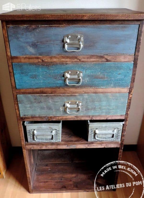 Industrial Deco Pallet Chest With Metal Drawers Pallet Cabinets & Wardrobes