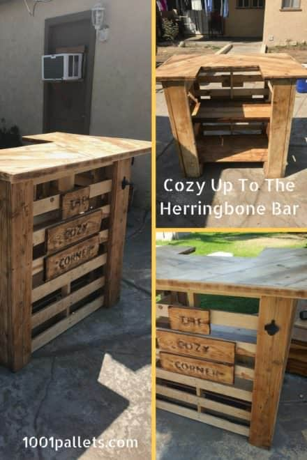 Cozy Corner Herringbone Pattern Pallet Bar