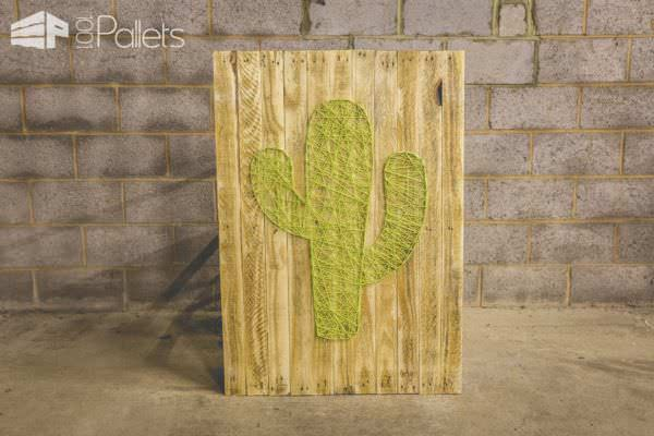 Make this Pallet Cactus String Art big or small to fit your home decor needs.