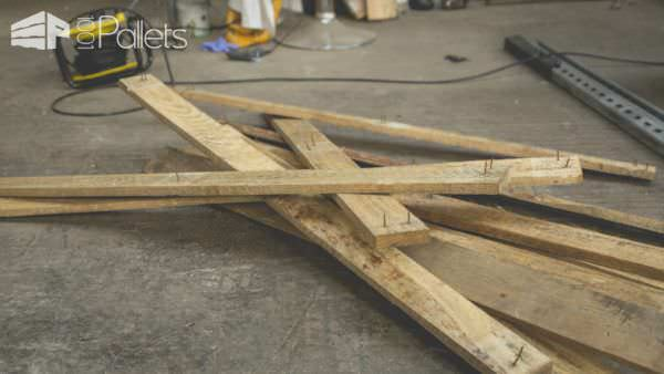 Wear safety protection when you're dismantling pallets for Pallet Cactus String Art.