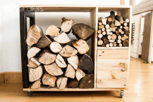 Functional and attractive, this Pallet Firewood Storage Cabinet is compact, and holds logs, kindling and ignition supplies as well as being mobile!