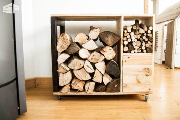 This Pallet Firewood Storage Cabinet is a back-saving device. Bring it near a doorway and load it up. Then one trip back to the fireplace and you're done!
