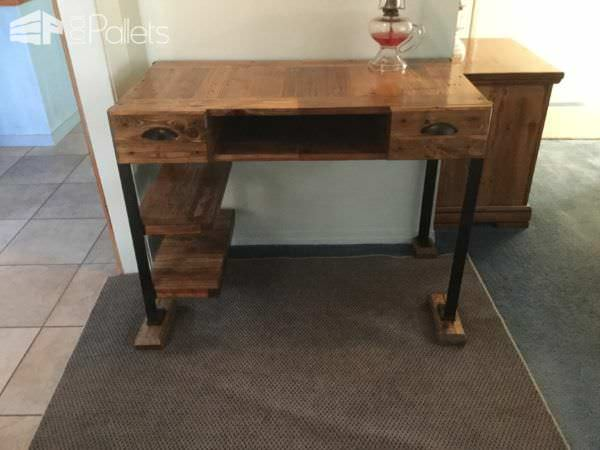 This Elegant Pallet Desk features lots of convenient storage options, from drawers, to shelves, to a center open pocket in the desk.