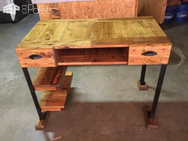 Add small scraps of wood for feet to prevent any damage to the floors when using angle iron as the legs on this Elegant Pallet Desk.