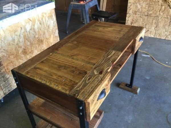 This Elegant Pallet Desk is strong. It's held together with lag screws for years of service.