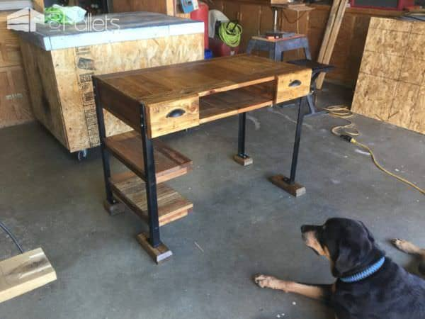 This Elegant Pallet Desk came out so well because of our beloved four-legged doggy supervisor.