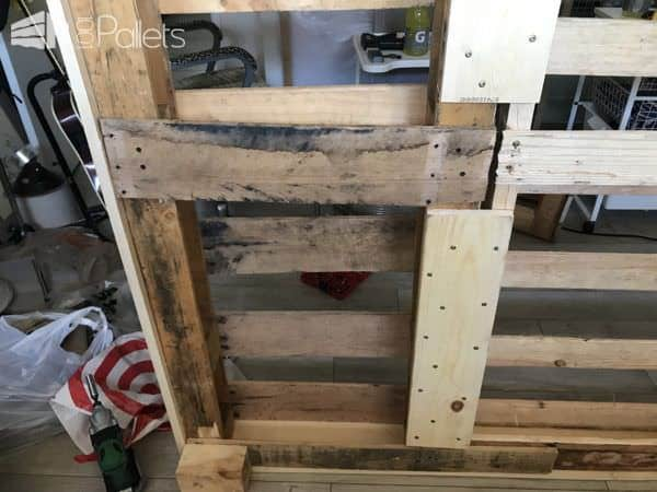 I used shims to adjust the height difference between the two pallets on my Four-Pallet Bed Frame.