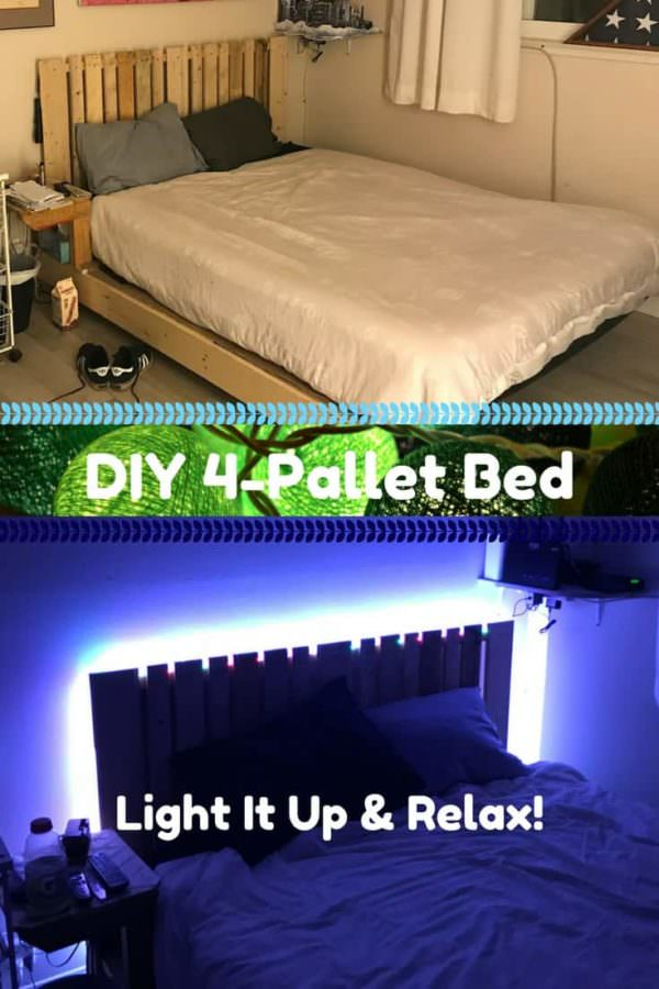 Four-pallet Bed Frame With Side Table