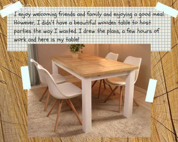 Indoor/Outdoor Pallet Dining Room Table seats six comfortably while being kind to your budget.