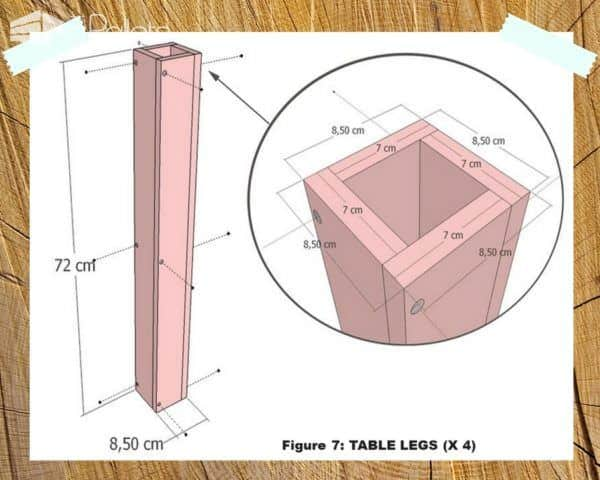 Drawing even shows you how far down to move the screws for this Indoor/Outdoor Pallet Dining Room Table leg.