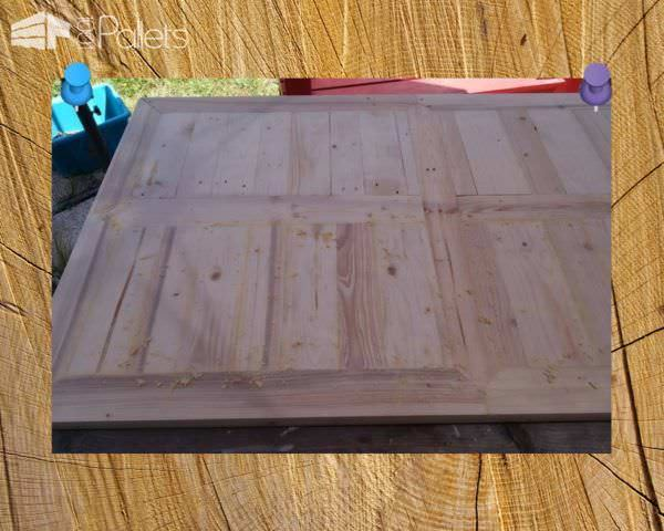 An example of the raw finished project on this Indoor/Outdoor Pallet Dining Room Table.