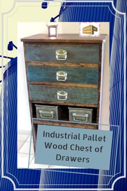 Industrial Deco Pallet Chest With Metal Drawers