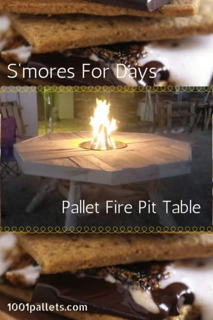 Pallet Patio Table Features Central Fire Pit