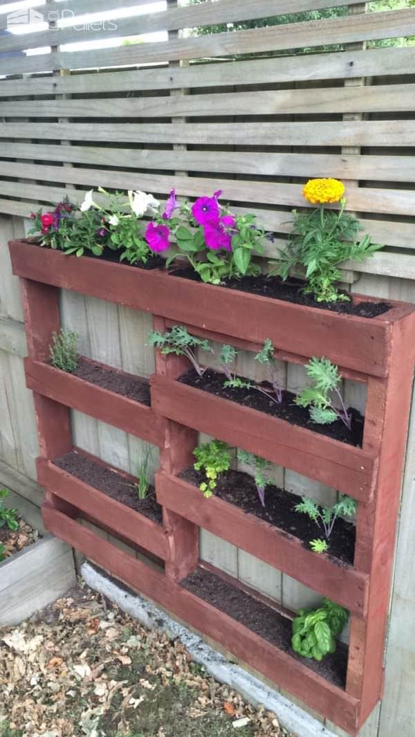 Staggered Vertical Pallet Planter Pallet Planters & Compost Bins