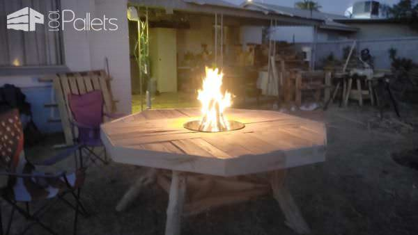Pallet Patio Table Features Central Fire Pit Pallet Benches, Pallet Chairs & Stools