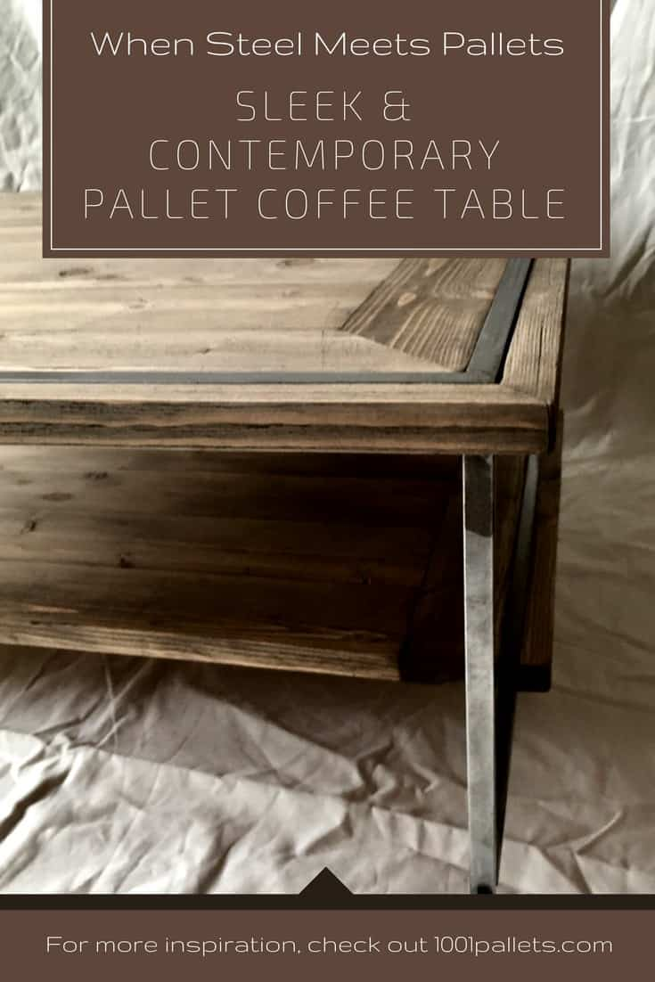 Pallet coffee table diy plans 1001 pallets when pallets meet steel sleek pallet coffee table geotapseo Image collections