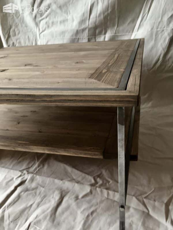 This Sleek Pallet Coffee Table features mitered corners and beautifully planed wood to add elegance and a finished look.