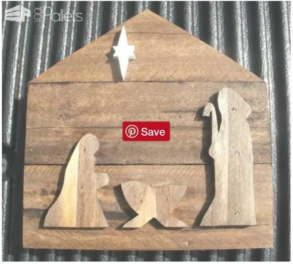 This nativity scene from pallet scraps is an easy Pallet Holiday Decor idea.