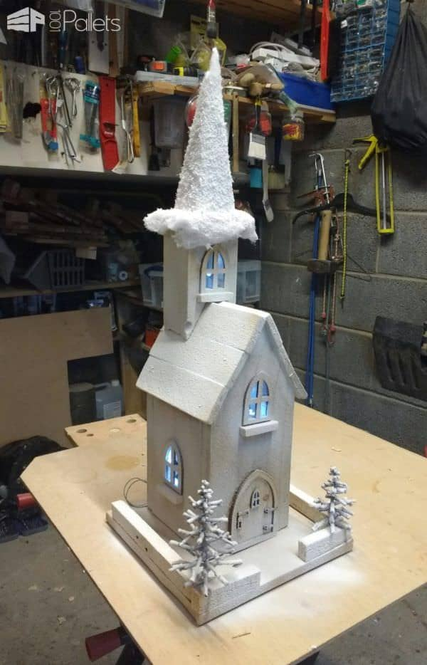 make a Pallet Holiday Decor idea like this pallet church for your miniature holiday town.