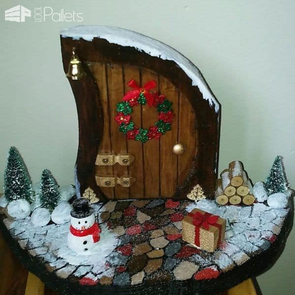 Create magical Pallet Holiday Decor with magical little holiday doors.