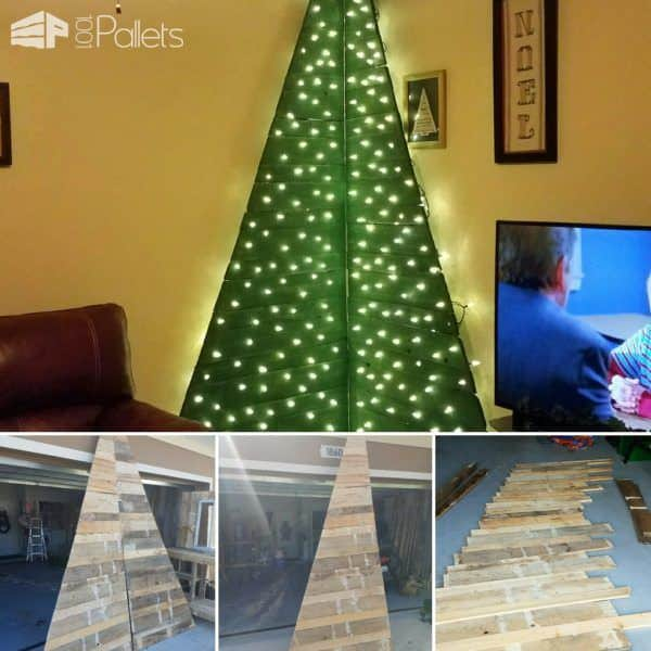 Cat-resistant and space-saving, this holiday tree built to fit in a small corner is perfect for small homes and is a brilliant Pallet Holiday Decor idea.
