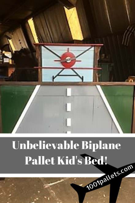 Airplane-themed Pallet Kids Bed Transformation