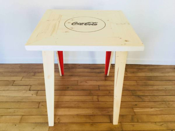 Beautiful Pallet Bistro Table With Soda Pop Logo Pallet Desks & Pallet Tables