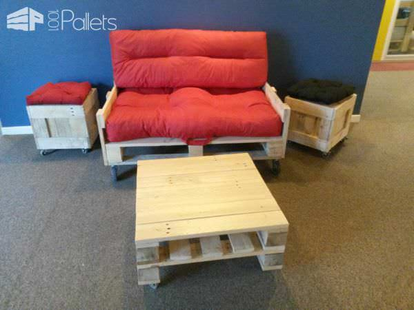 Make a Mobile Pallet Loveseat with a pallet as the seat, and build armrests and a backrest. Add casters and you're mobile!
