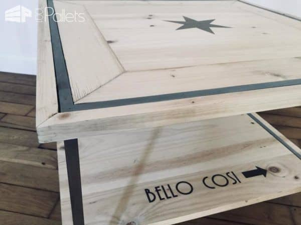 Pallet Inlay Coffee Table features mitered corners and a smooth finish.