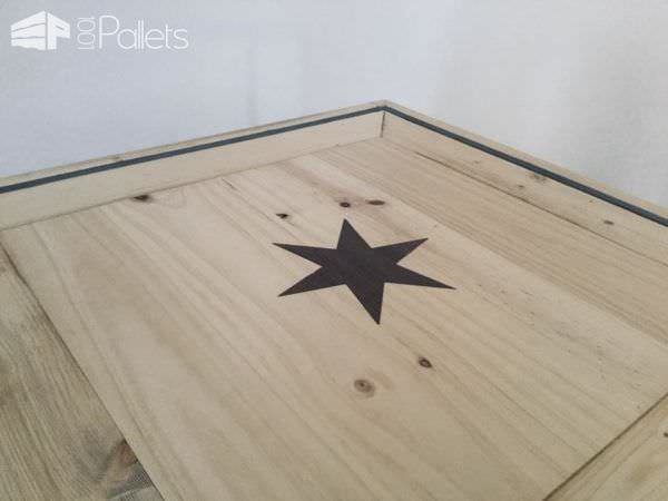 The Pallet Inlay Coffee Table features a laser-cut precision inlay with contrasting wood.