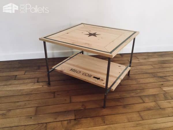 Pallet Inlay Coffee Table has a metal frame and wood table top and shelf.