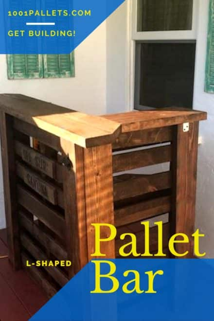 L-shaped Pallet Bar Uses Small Areas Perfectly!