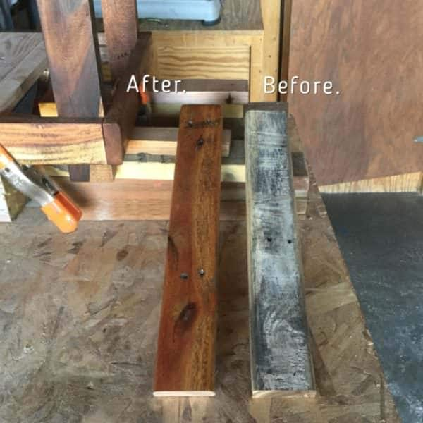 Before and after photo of the silvered pallet wood and after it is completed and ready to install onto my Mason Jar Lamp Pallet Side Table.