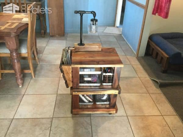 Mason Jar Lamp Pallet Side Table - although small, holds a lot of crafting supplies.