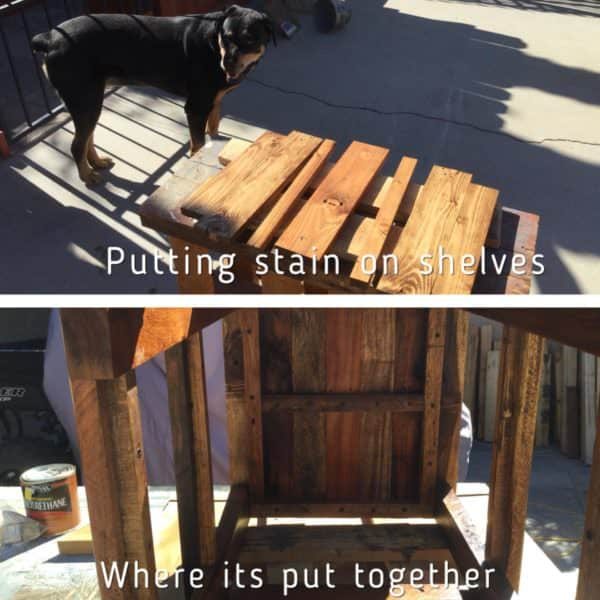 My dog supervises the staining process for the pieces of my Mason Jar Lamp Pallet Side Table.