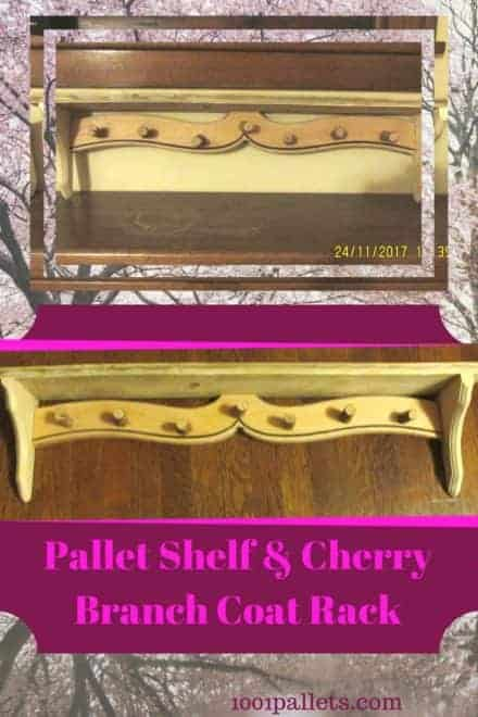 Pallet Shelf Features Natural Cherry Wood Coat Hooks