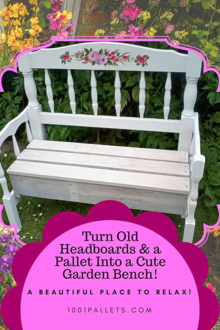 Pallet Wood Garden Bench Made With Two Headboards. Pallet Benches  Pallet Chairs   Patio furniture   Pallet Ideas