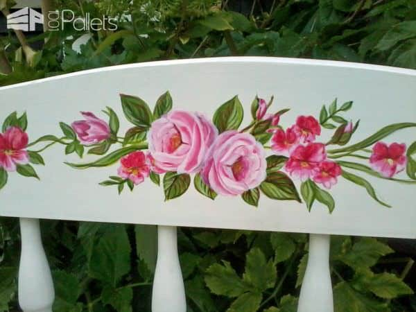 I had fun customizing my Pallet Wood Garden Bench with some hand-painted roses!