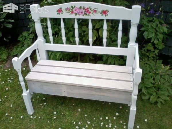 Upcycle two headboards and one pallet into a classy, elegant Pallet Wood Garden Bench.