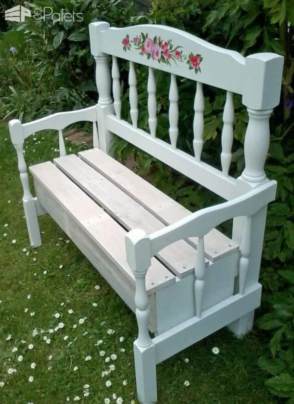Superb Pallet Wood Garden Bench Made With Two Headboards 1001 Short Links Chair Design For Home Short Linksinfo