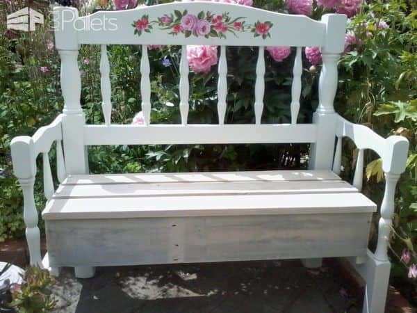 Create a relaxing oasis with old headboards and a pallet. Turn them into a Pallet Wood Garden Bench.