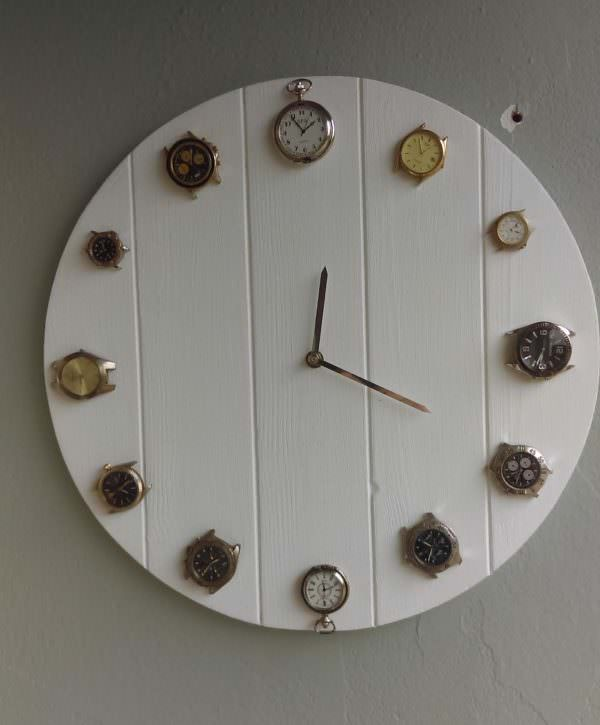 Attach old wristwatches and pocket watches with hot glue. Install the hands and your Pallet Wrist Watch Clock is complete!