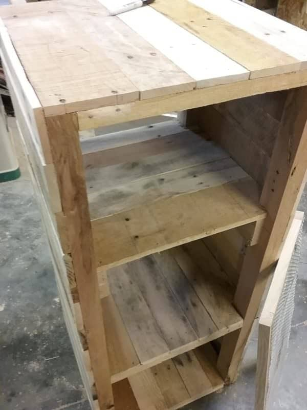 Pie Safe Pallet Cabinet features upcycled oak and pallet wood.
