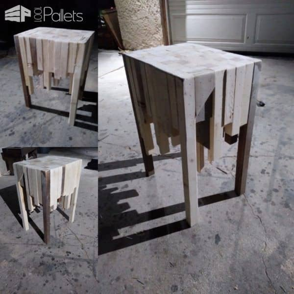 This Pallet Wood Side Table is a brilliant way to use up those scrap pallet pieces.