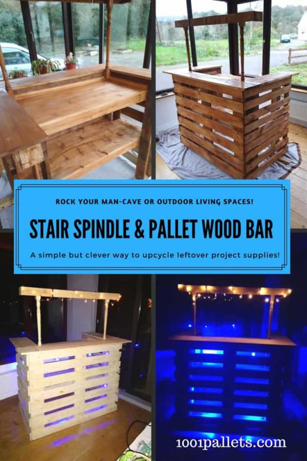 Stair Spindle Pallet Bar Makes Easy Backyard Project!