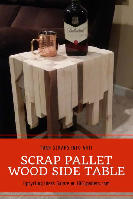 Stunning Scrap Pallet Wood Side Table