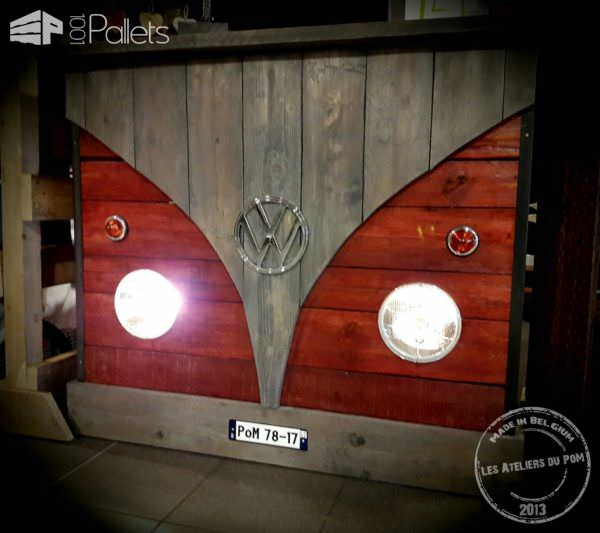 Pallet Ideas Oct 2017 include this Pallet Bar styled like a VW Bus.