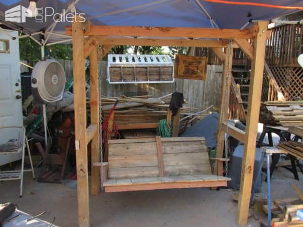 A second style of Pallet Arbor and swing bench with a solid-backed seat.