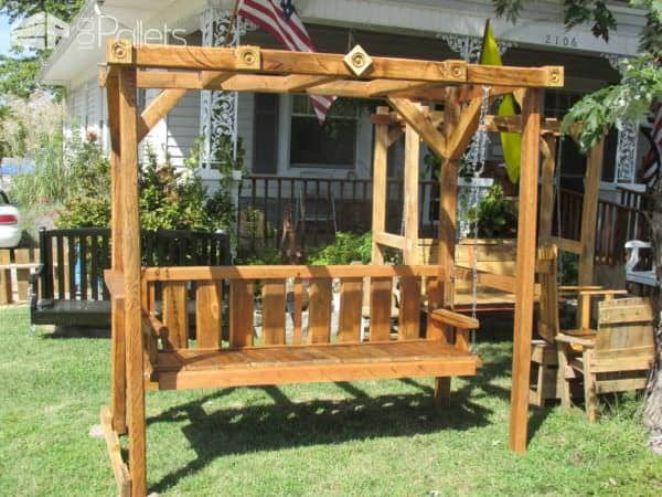 Build a beautiful Pallet Arbor and swing bench using oversized pallets.